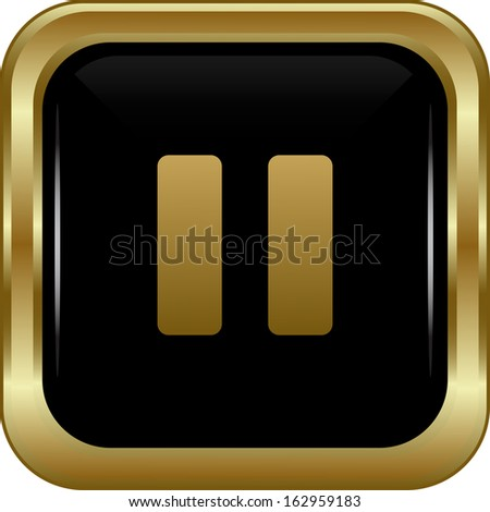 Black gold pause button. Abstract vector illustration. - stock vector