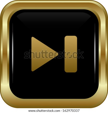 Black gold skip button. Abstract vector illustration. - stock vector