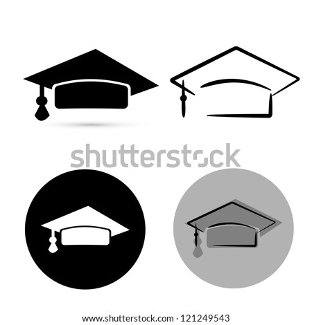 black graduate hat isolated over white background. vector - stock vector
