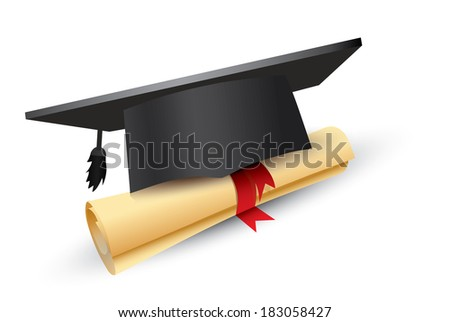 Black graduation cap with degree Isolated on white - stock vector