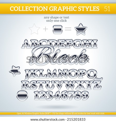 Black Graphic Styles for Design. Graphic styles can be use for decor, text, title, cards, events, posters, icons, logo and other. - stock vector