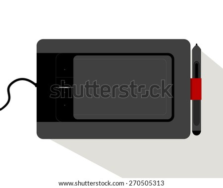 Black Graphic Tablet on a White Background. Vector illustration. Dark Graphic Tablet the necessary tool for creative people. Vector graphic tablet icon. Tablet with red fasteners. - stock vector