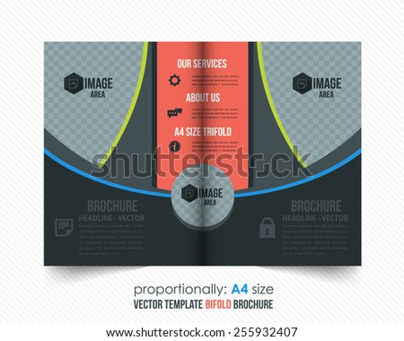 Black, Gray Color Bi-Fold Brochure Design. Corporate Leaflet, Cover Template - stock vector