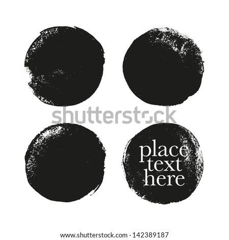 Black grunge circles. Vector illustration - stock vector