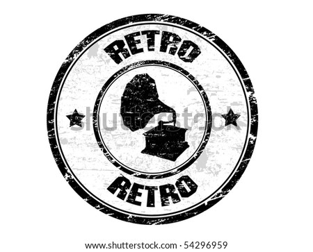 Black grunge rubber stamp with gramophone shape and the word retro written inside the stamp - stock vector