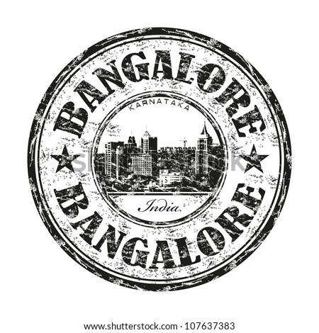 Black grunge rubber stamp with the name of Bangalore city from India written inside the stamp - stock vector