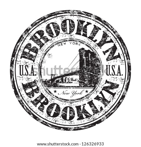 Black grunge rubber stamp with the name of Brooklyn borough from New York City written inside the stamp - stock vector