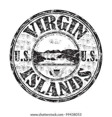 Black grunge rubber stamp with the name of United States Virgin Islands written inside the stamp - stock vector