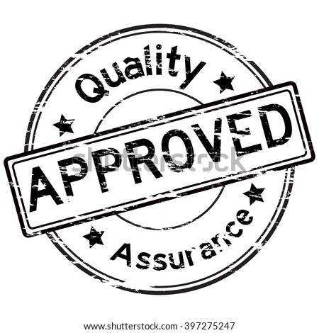 Black grunged approve and quality assurance stamp on white background - stock vector