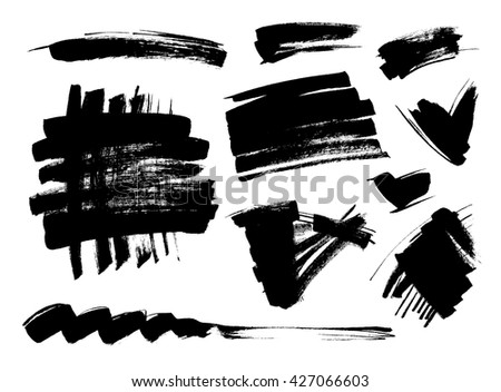 Black grungy vector abstract hand-painted background. Grunge Brush Stroke. Modern Textured Brush Stroke - stock vector
