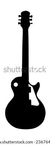 Black guitar outline shown on a white background - stock vector