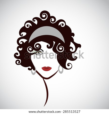 Black hair beauty .  Youthful woman looking forward .   - stock vector