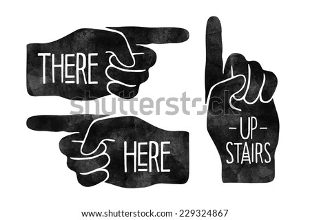 Black hand silhouettes with pointing finger. Navigation signs - stock vector