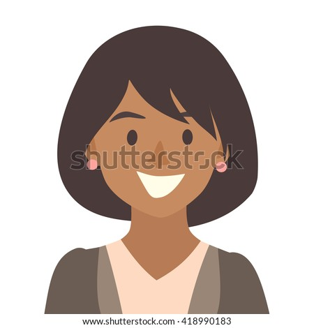Black happy girls icon vector.Woman icon illustration.Face of young woman icon.Face of people icons cartoon style.Black people head flat icons.Isolated avatar white background - stock vector