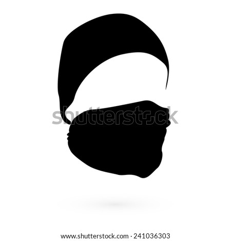 Black hat with a mask. Vector. 2 - stock vector