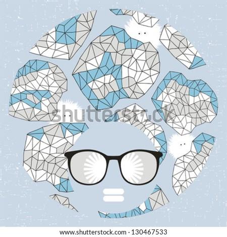 Black head woman with strange pattern hair. Vector illustration. - stock vector