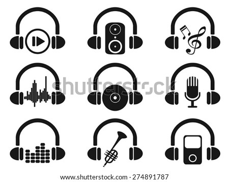 black headphone with music icons set - stock vector