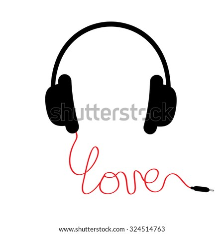 Black headphones Red cord in shape of word love. Music card. Flat design. White background Vector illustration - stock vector