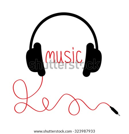 Black headphones with cord and red word Music. Card. Flat design. White background. Vector illustration. - stock vector