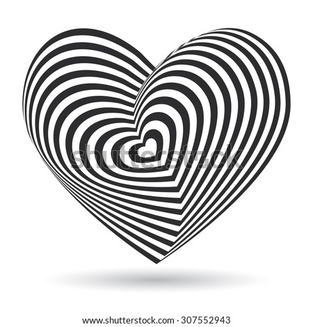 black heart on white background. Optical illusion of 3D three-dimensional volume. Vector - stock vector
