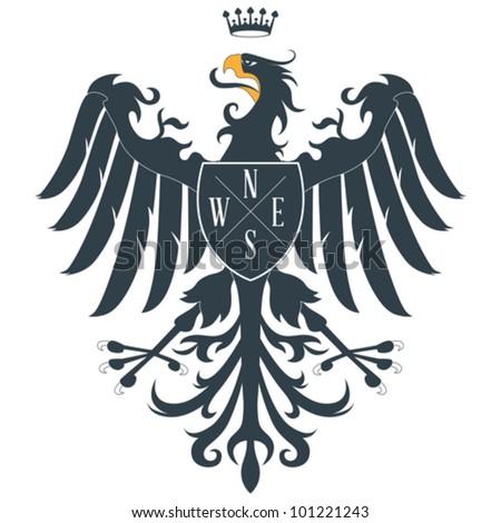Black heraldic eagle - stock vector