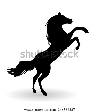 Black horse outline vector illustration. Horse logo conceptual icon isolated over white background - stock vector