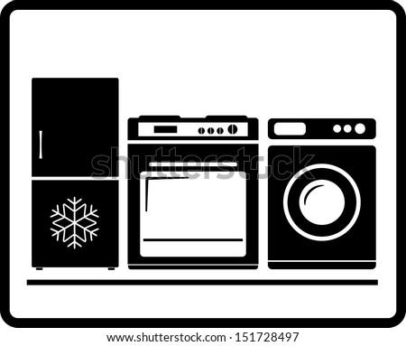 black household appliances icon - gas stove, refrigerator, washing machine  - stock vector