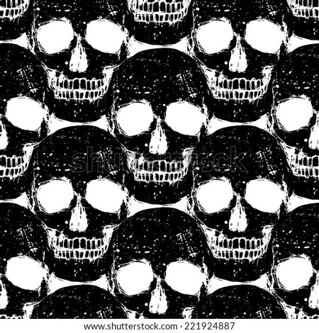 Black human skull grunge seamless pattern, isolated vector background - stock vector
