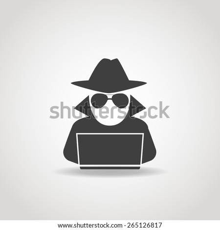 Black icon of anonymous spy agent searching on laptop. - stock vector