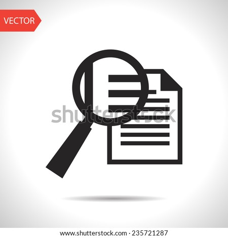 black icon of lupe document - stock vector