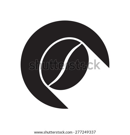 black icon with coffee bean and white stylized shadow - stock vector