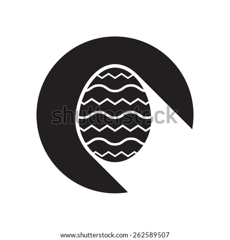 black icon with Easter egg and white stylized shadow - stock vector