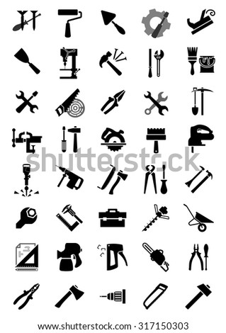 Black icons of screwdrivers, hammers, wrenches, pliers, saws, axes and drills, brush, roll, shovel, toolbox and jack plane, trowel, spatulas, spray and staple guns, vice, crowbar and wheelbarrow  - stock vector