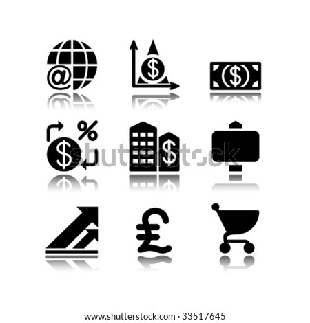 Black icons set 23 - stock vector