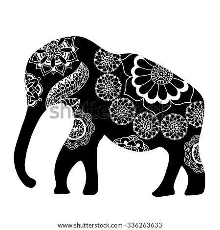 Black Indian elephant. Hand drawn doodle Indian elephant with tribal ornament. Vector ethnic elephant. - stock vector