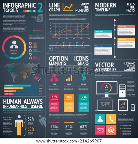 Black infographic vector template elements data visualization - stock vector