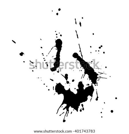 Black ink blot on white background. Vector illustration. - stock vector