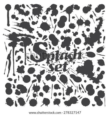 Black Ink Splash and Droplet Set - stock vector