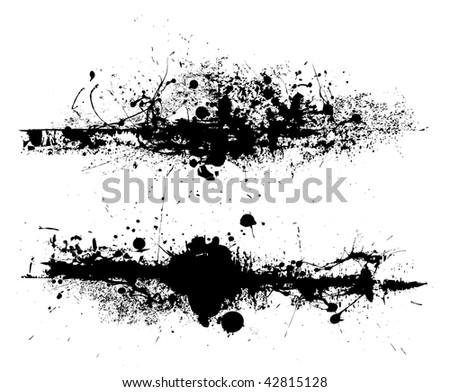 Black ink splat design with roller drag marks and splatter - stock vector