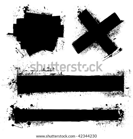 Black ink splat with roller marks and grunge effect - stock vector