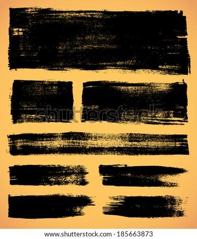 black ink vector brush strokes  - stock vector