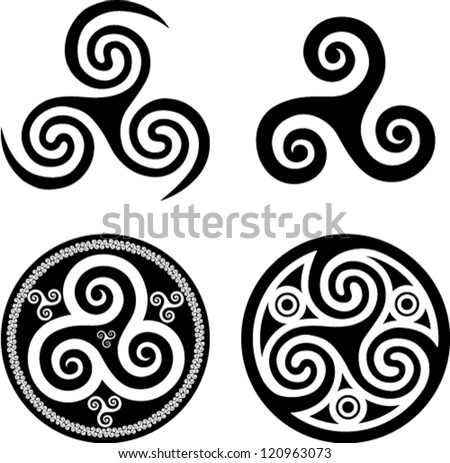 Black isolated celtic triskel set, vector elements for your design - stock vector
