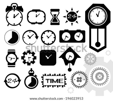Black isolated clock icon on white background, time icon - stock vector