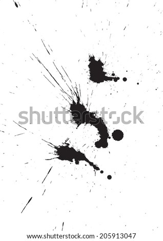 Black isolated ink blot with messy drops - stock vector