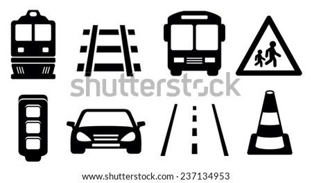 black isolated road icons set for transport industrial - stock vector
