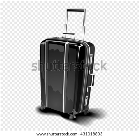 Black isolated travel suitcase with a handlebar and chrome metallic parts. Vector illustration - stock vector