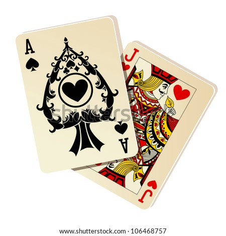 Black Jack. Two cards on white background. - stock vector