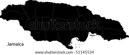 Black Jamaica map with parishes borders - stock vector