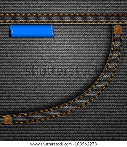 Black jeans pocket with blue stitched label - stock vector