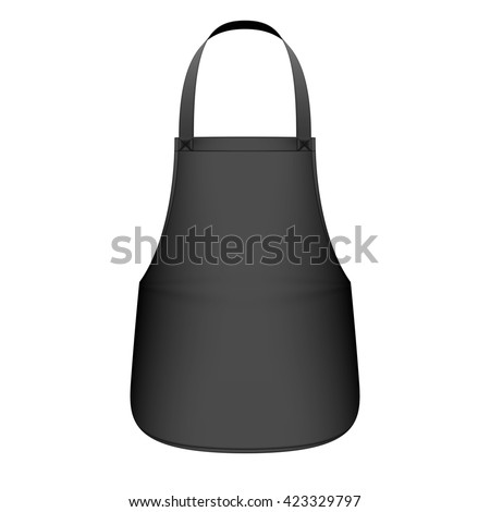 Black kitchen apron vector illustration - stock vector
